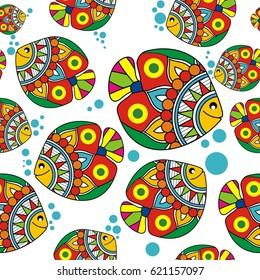 Indian Folk Painting- Madhubani Seamless Pattern of a fish