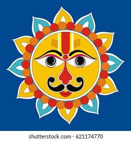 Indian Folk Painting- Madhubani Painting of a Sun