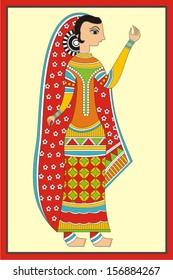 Indian Folk Painting. Madhubani Painting of a woman
