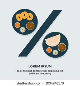 Indian Food Discount Offer. Vector illustration of vada sambhar and Dosa. South Indian Dish.
