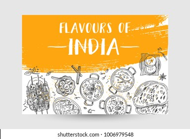 Indian food flyer design. Linear graphic. Vector illustration. Engraved style
