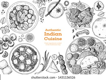 Indian food illustration. Hand drawn sketch. Indian cuisine. Doodle collection. Vector illustration. Menu background. Engraved style.