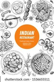 Indian food illustration. Hand drawn sketch. Vector illustration. Menu background. ndian cuisine menu design. Vintage hand drawn sketch vector illustration.