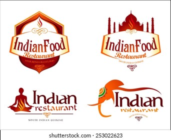 Indian Food Logo. Creative restaurant logo vector template. Indian food brand elements.