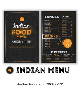 Indian Food menu template with grunge doodles in hand drawn style. Oriental culture restaurant illustration