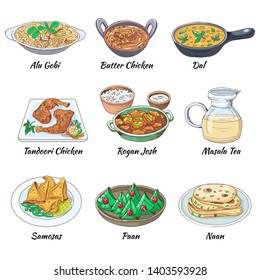 Indian food set. Asian traditional cuisine collection with different dishes and drink. Masala tea and Dal, Butter chicken and alu gobi, samosas and paan  naan. Vector hand drawn illustration.