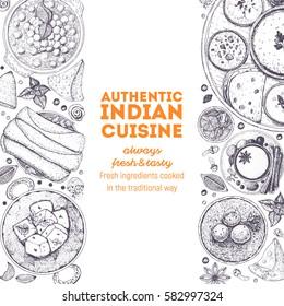 Indian food top view. Indian cuisine menu design. Vintage hand drawn sketch vector illustration.
