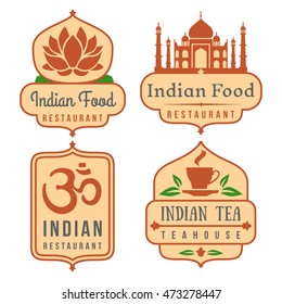 Indian food vector logo set. India cafe emblems, oriental cuisine banners on white
