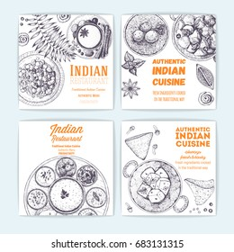 Indian food vintage design template. Banners collection. Vector illustration hand drawn linear art. Indian Cuisine restaurant menu. Hand drawn sketch.
