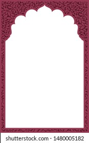 Indian frame with leaves texture on white background - Vector