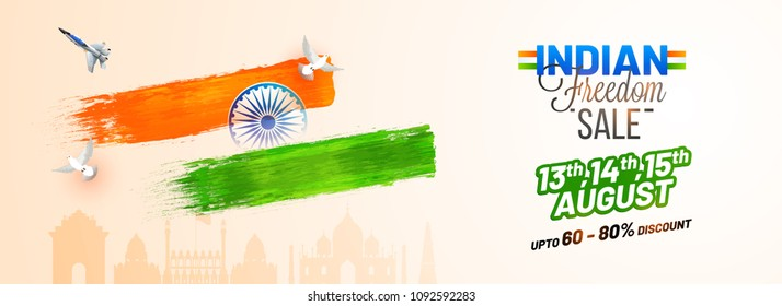 Indian Freedom sale, web header or banner design with dove flying, fighter aircraft, Ashoka Chakra on Indian famous monuments background.