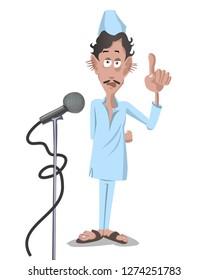 indian funny politician character speech in uniform vector