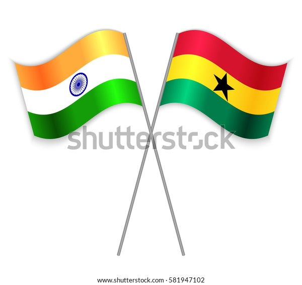 Indian and Ghanaian crossed flags. India combined with Ghana isolated on white. Language learning, international business or travel concept.