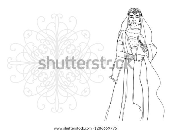 Indian Girl Beautiful Wedding Dress Happy Stock Vector Royalty Free