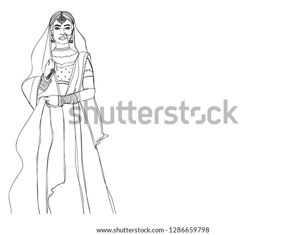 Indian Girl Beautiful Wedding Dress Happy Stock Vector Royalty Free