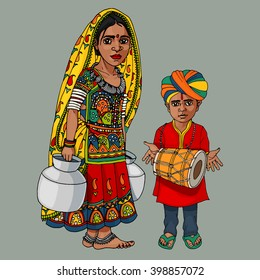 Indian girl and boy hand drawn colorful illustration