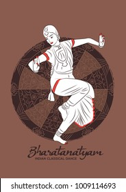 Indian girl dancer of Indian classical dance bharatanatyam. Vector illustration of indian dancer.