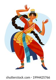 Indian girl dancing. Young beautiful woman in festive traditional costume standing and posing vector illustration. Tourism in India, female in motion isolated on white background.
