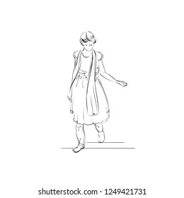 Indian Girl Dressed in a Shalwar Kameez. Teenager-Girl Wearing in a Traditional Dress. Ethnic Female Costume in India. Vector Illustration. Freehand Drawing. Monochrome Linear Sketch. Realistic Style.