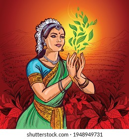 An Indian girl in an ethnic costume, sari, and jewelry holds a swirl of tea bush leaves in her hands. In the background is a pattern of tea leaves.