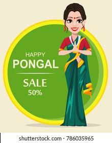 Indian girl. Happy Pongal greeting card. Makar sankranti. Vector illustration
