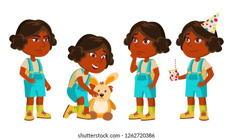 Indian Girl Kindergarten Kid Poses Set Vector. Hindu. Playing With Hare Toy. Active, Joy Preschooler. For Presentation, Print, Invitation Design. Isolated Illustration