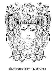 Indian girl line art