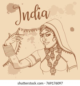 Indian girl retro style travel poster postcard hand drawn sketch