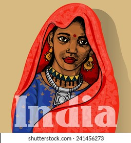 Indian girl retro vintage colorfull backgound for your design