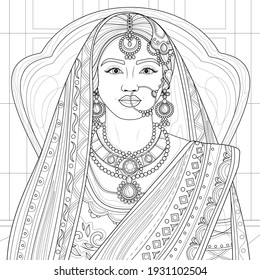 Indian girl in saree.Coloring book antistress for children and adults. Illustration isolated on white background.Zen-tangle style. Hand draw