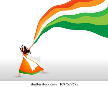 Indian Girl waving her cloth, coloured in Indian tricolours on white background.