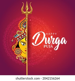 indian God durga Face in Happy Durga Puja Subh Navratri background and template. vector illustration design