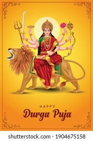 indian God durga in Happy Durga Puja Subh Navratri background. vector illustration