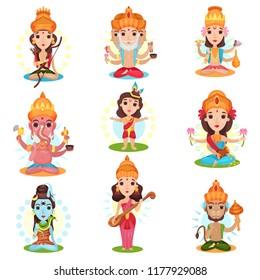 Indian god and goddess set, Rama, Brahma, Kali, Ganesha, Lakshmi, Shiva, Saraswati, Hanuman vector Illustrations on a white background