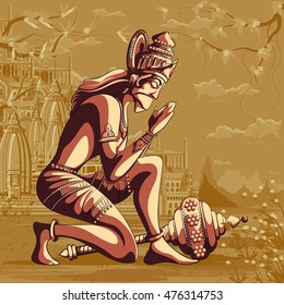 Indian God Hanuman praying for Lord Rama. Vector illustration