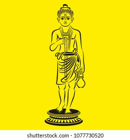 Indian God Nilkanth Maharaj Illustration, Lord Swaminarayan Vector