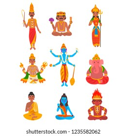 Indian god set, Varuna, Brahma, Parvati, Indra, Vishnu, Buddha, Shiva, Agni, Ganesha vector Illustration on a white background