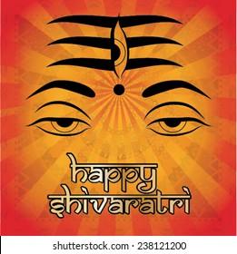 Indian god Shiva. Happy shivaratri. Vector illustration.