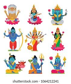 Indian god vector hindu godhead of goddess character and hinduism godlike idol Ganesha in India illustration set of asian godly religion isolated on white background