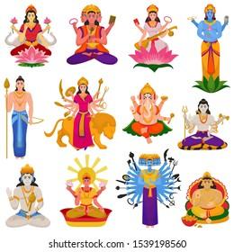 Indian god vector hindu godhead of goddess character and hinduism godlike idol Ganesha in India illustration set of asian godly religion isolated on white background.