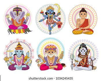 Indian god vector hinduism godhead of goddess and godlike idol Ganesha in India illustration set of asian godly religion isolated on white background