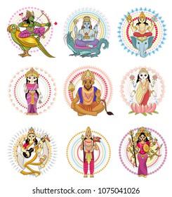 Indian god vector hinduism godhead of goddess and godlike idol Ganesha in India illustration set of asian godly religion isolated on white background