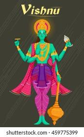 Indian God Vishnu giving blessing. Vector illustration