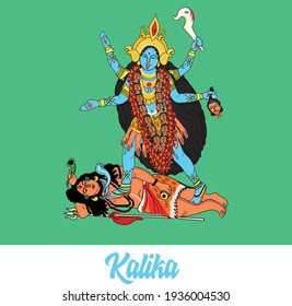 Indian Goddess Kali with Shiva. Vector illustration on a green background