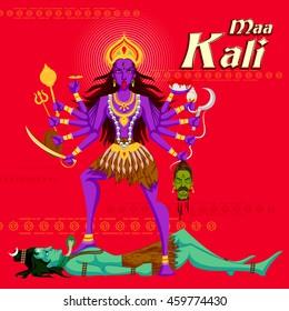 Indian Goddess Kali with Shiva. Vector illustration