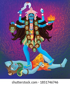 Indian Goddess Maa Kali Vector design, illustration of Goddess Kali Maa on Diwali, Kali Pooja background of India festival