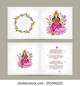 Indian goddess Shakti, postcard design. Vector illustration