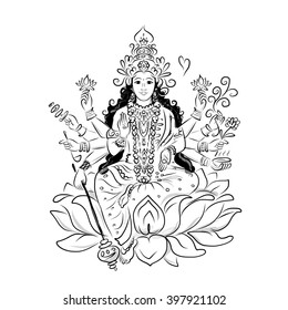 Indian goddess Shakti, sketch for your design