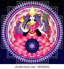"""Indian goddess Tripura Sundari (""""Beauty of Three Worlds"""")"""