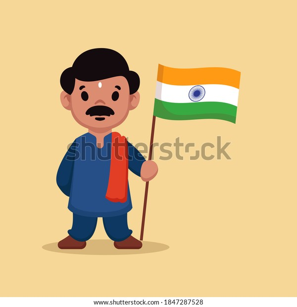 Indian guy holding Indian flag in Republic day